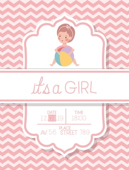 Its a girl baby shower card with kid and plastic balloon