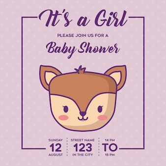 Its a girl-baby shower invitation with cute deer icon over purple background, colorful design. vecto
