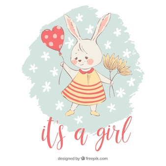 Its a girl background with rabbit