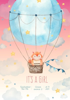 Its a girl children invitation card with cute fox in a balloon in the stars and clouds