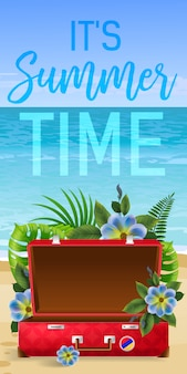 Its summer time, banner with tropical leaves, blue flowers, red empty suitcase