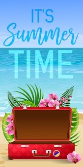 Its summer time banner with tropical leaves, pink flowers, red suitcase