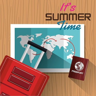 Its summer time suitcase passport map design