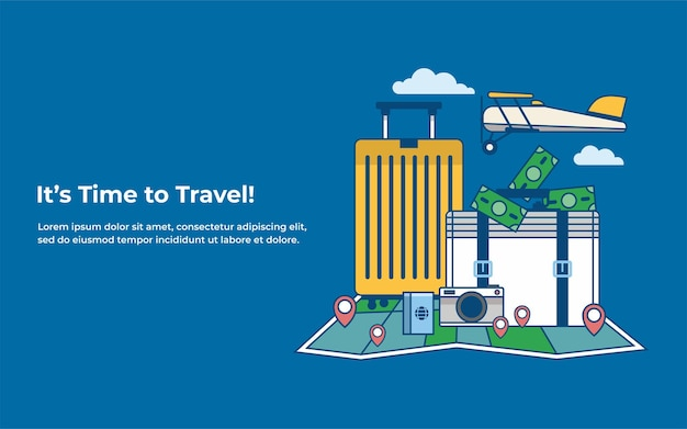 Its time to traveltrip to world travel to world vacation road trip tourism vector illustratio