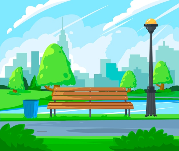 Сity park landscape. public park in the city with lake and wooden benches.