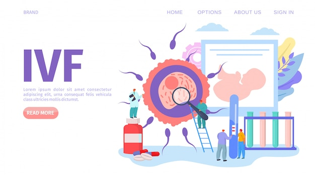 Ivf medical fertility concept, webpage   illustration. gynecology healthcare, alternative way for pregnancy in hospital