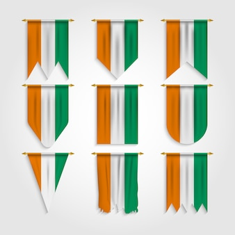 Ivory coast flag in different shapes, flag of ivory coast in various shapes