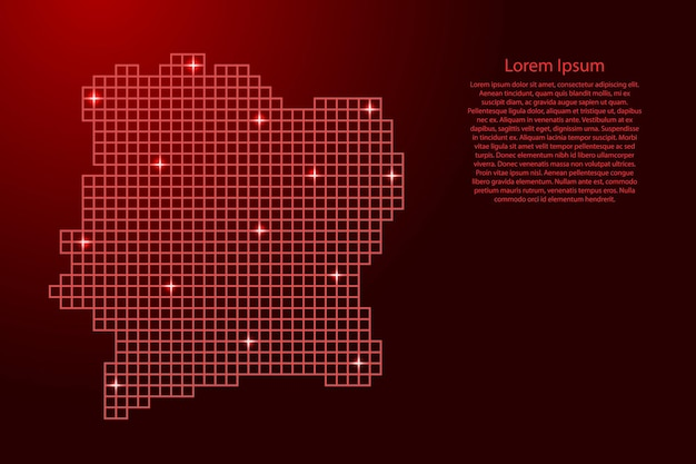 Ivory coast map silhouette from red mosaic structure squares and glowing stars. vector illustration.