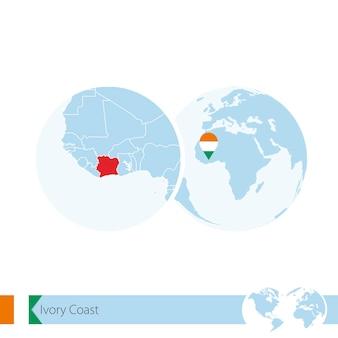 Ivory coast on world globe with flag and regional map of ivory coast. vector illustration.