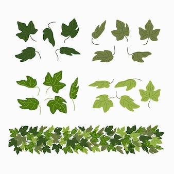 ツタの葉と緑のつる植物の境界線