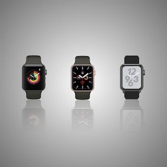 グレーに分離されたスマートな時計のセットです。詳細なスマートウォッチは灰色の表面に反映されます。画面付きのスマートなiwatch。ステンレススマートな時計の顔eps。