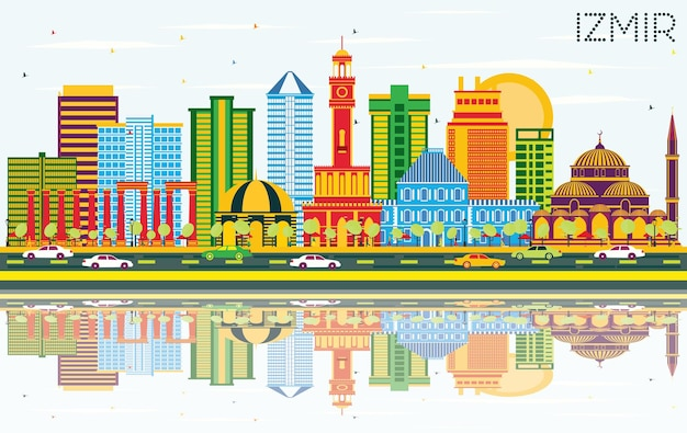Izmir turkey city skyline with color buildings, blue sky and reflections. vector illustration. business travel and tourism concept with modern architecture. izmir cityscape with landmarks.