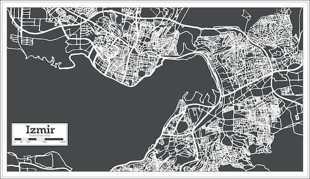レトロなスタイルのイズミルトルコ地図。ベクトルイラスト。白地図。