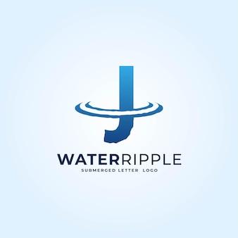 J синий градиент буква водная рябь всплеск волна динамический логотип вектор значок иллюстрации