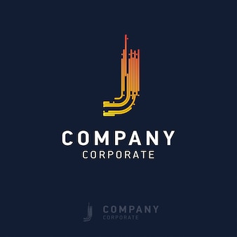 J company logo design with visiting card vector