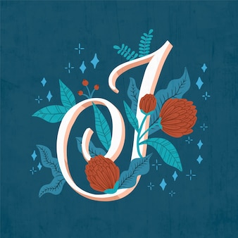 J creative floral letter of alphabet