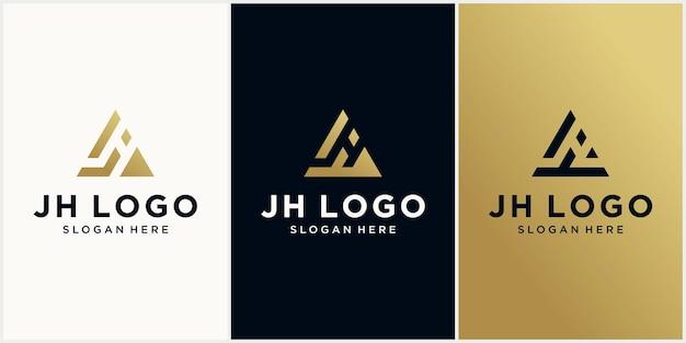 Шаблон логотипа j, h треугольник j, h шестиугольник, начальная монограмма с роскошным логотипом золотого цвета j