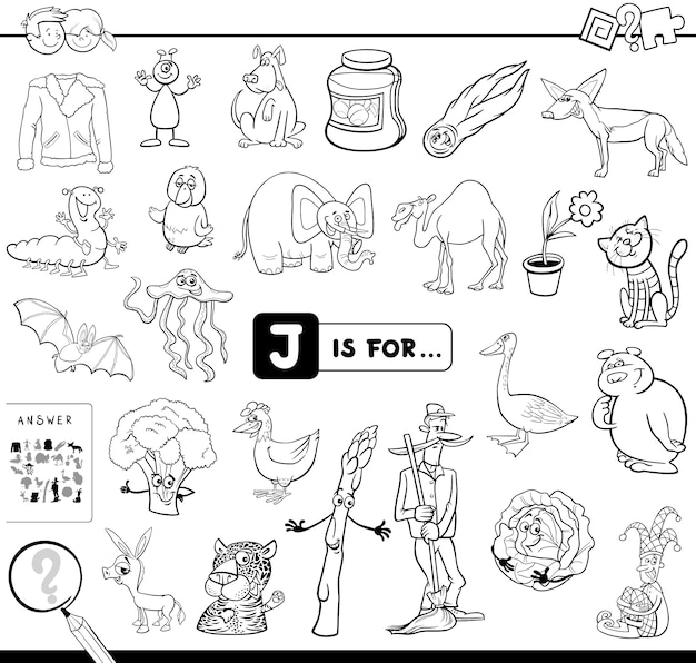 J is for educational game coloring book