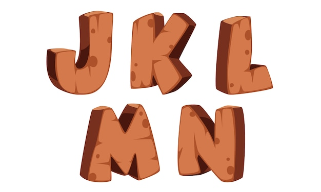 木製アルファベットj、k、l、m、n