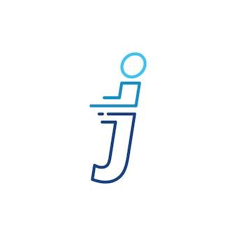 J文字ダッシュ小文字ハイテクデジタル高速クイック配信移動ラインアウトラインモノラインブルーロゴベクトルアイコンイラスト