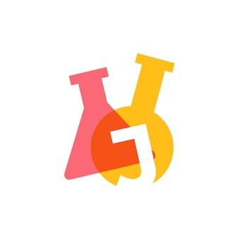 J letter lab laboratory glassware beaker logo vector icon illustration