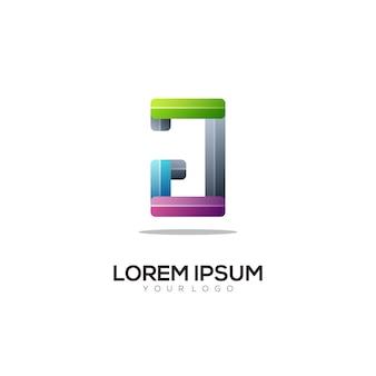 J letter logo colorful gradient illustration