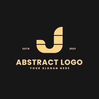 J письмо роскошный золотой геометрический блок концепция логотип вектор значок иллюстрации
