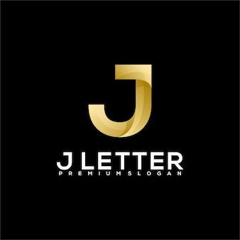J письмо роскошный логотип градиент