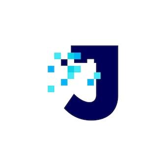 J 문자 픽셀 마크 디지털 8 비트 로고 벡터 아이콘 그림
