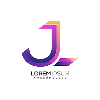 J letter with fire colorful logo gradient illustration