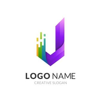 J логотип и красочный дизайн шаблона, монограмма буква j с технологией