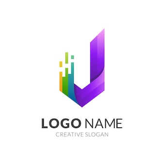 J logo and colorful design template, letter j monogram with technology