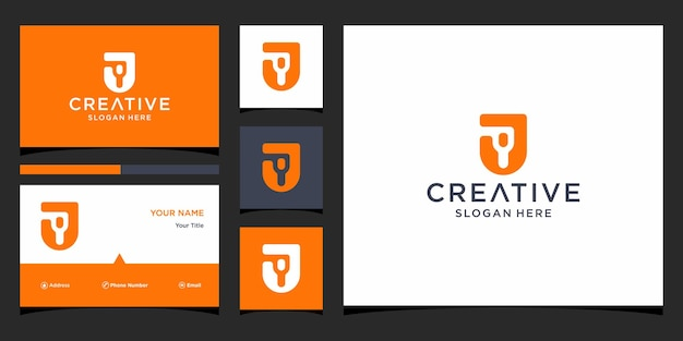 Дизайн логотипа j с шаблоном визитной карточки