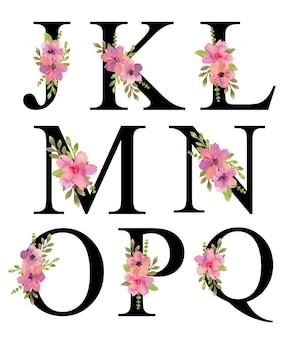 J - q 알파벳 문자 디자인 수채화 핑크 보라색 꽃 꽃다발