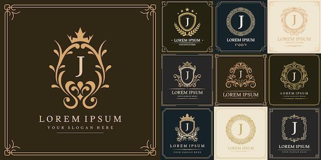 Набор шаблонов логотипа класса люкс, буквица j
