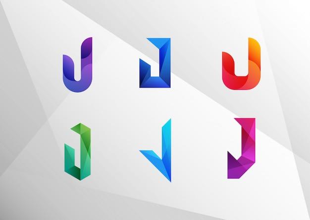 Набор абстрактных градиентных букв j