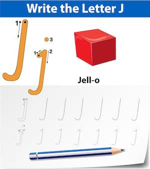 Письмо j трассировки алфавит листы