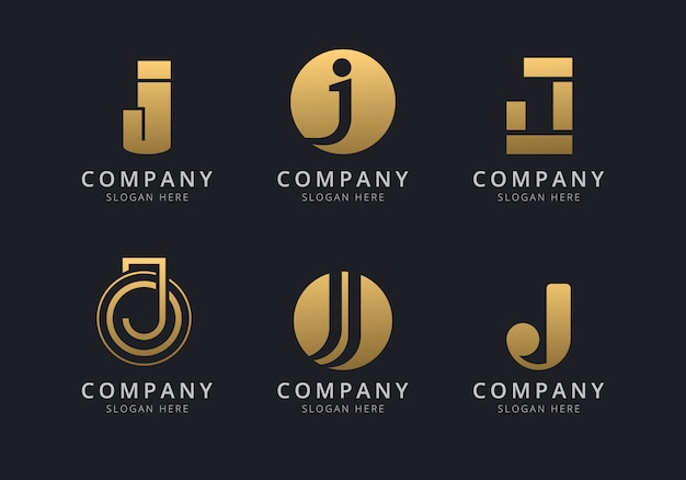 Шаблон логотипа инициалы j с золотистым стилем для компании