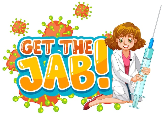 Jab time font design with a doctor woman on white background