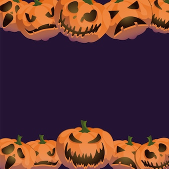 Jack-0-lantern halloween background frame decoration