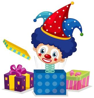 Jack in the box con testa di clown su bianco