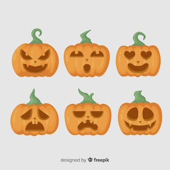 Jack o lantern flat halloween pumpkin with stems