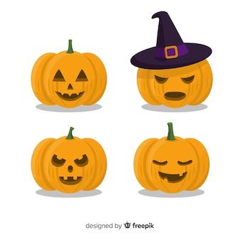 Jack o lantern flat halloween pumpkin