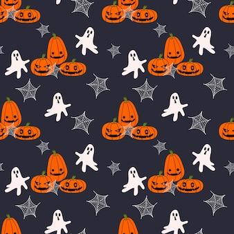 Jack-o-lantern and ghost seamless pattern.