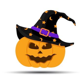 Jack-o-фонарь. тыква хеллоуина при шляпа ведьм изолированная на белизне. праздники мультипликационного персонажа. векторная иллюстрация в плоском стиле.