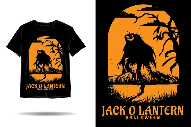 Джек о фонарь хэллоуин силуэт футболки дизайн