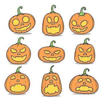 Jack-o'-lantern painting, halloween pumpkin vector on white background.
