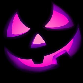 Jack o lantern pumpkin illuminated green.