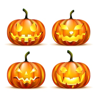 Jack o-lantern pumpkins isolated