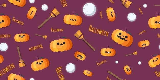 Jack o lantern pumpkins with brooms, moons pattern.